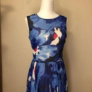 Maggy London Blue pleated Midi Dress